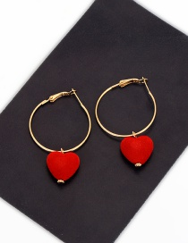 Lovely Red Heart Shape Decorated Simple Round Earrings