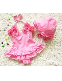 Lovely Pink Flower Decorated Simple Pure Color Child Swimwear(with Hat )