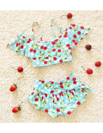 Lovely Blue Cherry Shape Pattern Decorated Simple Child Swimwear