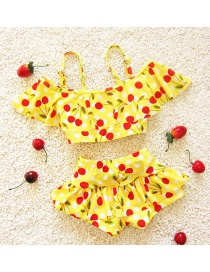 Lovely Yellow Cherry Shape Pattern Decorated Simple Child Swimwear
