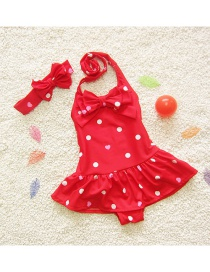 Lovely Red Heart Shape Pattern Decorated Simple Child Swimwear (with Hair Band)