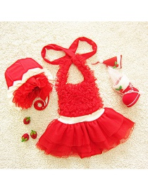 Lovely Red Pure Color Decorated Simple Child Swimwear (with Hat)