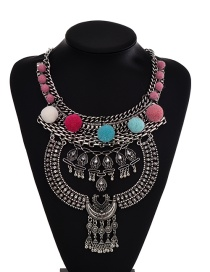 Multi-color Fuzzy Ball Decorated Simple Hollow Out Necklace