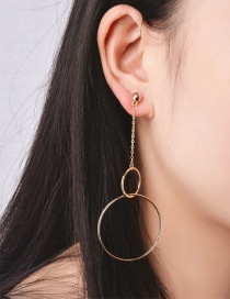 Fashion Gold Color Round Shape Decorated Simple Pure Color Earrings