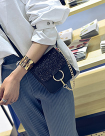 Trendy Black Circular Ring Decorated Color Matching Simple Shoulder Bags