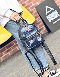 Fashion Blue Badge Pattern Decorated Pure Color Simple Backpack