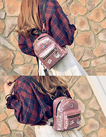 Fashion Pink Badge Pattern Decorated Pure Color Simple Backpack