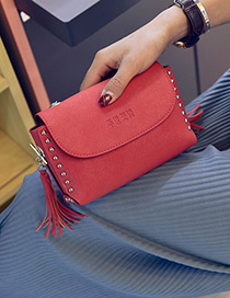Fashion Red Rivet&tassel Pure Color Square Shape Shoulder Bag