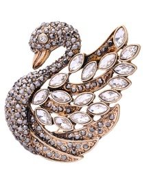 Fashion Gold Color Oval Shape Diamond Decorated Swan Shape Brooch
