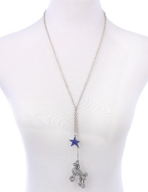 Fashion Silver Color Dog&star Pendant Decorated Color Mathcing Long Necklace