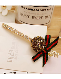 Fashion Champagne Bowknot&round Ball Decorated Duckbilled Hair Pin