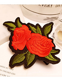 Fashion Orange Embroidery Flower Decorated Color Matching Hair Pin