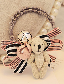 Lovely Pink Bear&bowknot Decorated Color Matching Doubler Layer Hair Band
