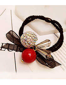 Fashion Red Round Balls&bowknot Decorated Color Matching Hair Band