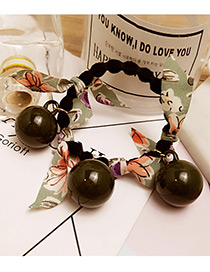 Fashion Green Round Balls&floral Decorated Simple Hair Band