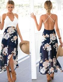 Fashion Navy Painting Flower Decorated V Neckline Patchwork Sandbeach Dress