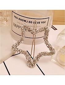Elegant Silver Color Full Diamond Decorated Star Shape Design Hiarpin