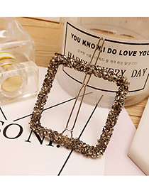 Elegant Gray Full Diamond Decorated Square Shape Design Hiarpin