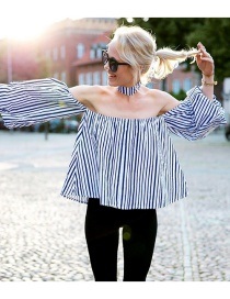 Fashion Blue Strip Pattern Decorated Off Shoulder Puff Sleeve Shirt