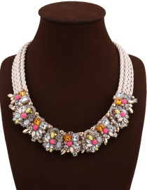 Fashion White+pink Geometric Shape Diamond Decorated Flower Shape Design Necklace