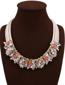 Fashion White+pink Geometric Shape Diamond Decorated Flower Shape Design Necklace