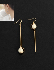 Fashion White Vertical Shape Pendant Decorated Asymmetric Earrings