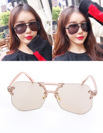 Fashion Champagne Geometric Shape Decorated Transparent Design Sunglasses