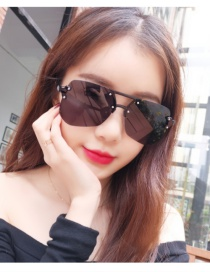 Fashion Black Geometric Shape Decorated Transparent Design Sunglasses