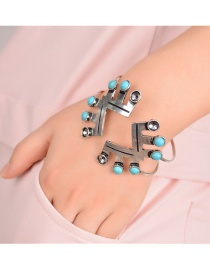 Fashion Silver Color Gemstone Decorated Geometric Shape Simple Bracelet