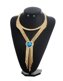 Fashion Gold Color+blue Hear Shape Diamond Decorated Tassel Design Jewelry Sets