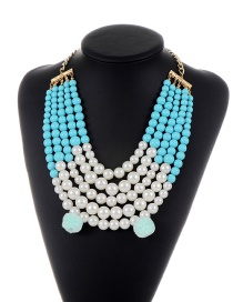 Vintage Blue Pearl&fuzzy Balls Decorated Multi-layer Color Matching Necklace