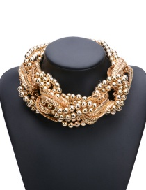 Fashion Gold Color Beads&chains Decorated Pure Color Simple Necklace