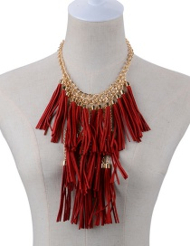 Fashion Red Long Tassel Pendant Decorated Pure Color Necklace