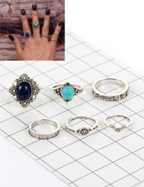 Fashion Silver Color Oval Shape Diamond Decorated Color Matching Ring (6pcs)