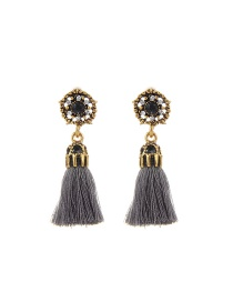 Fashion Dark Gray Tassel Decorated Hollow Out Pure Color Earrings