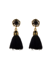 Fashion Black Tassel Decorated Hollow Out Pure Color Earrings