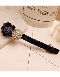 Fashion Navy Round Ball&flower Decorated Duckbilled Simple Hairpin