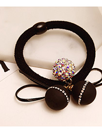 Fashion Black Round Balls Decorated Color Matching Hair Band