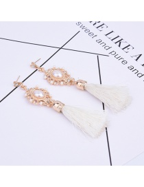 Fashion White Pearls&tassel Decorated Pure Color Simple Earrings
