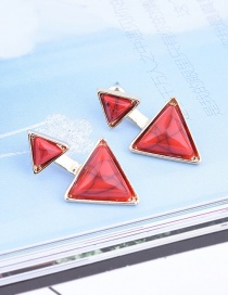 Fashion Red Geometric Shape Gemstone Decorated Pure Color Earrings