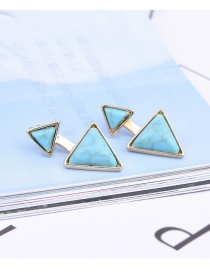 Fashion Blue Geometric Shape Gemstone Decorated Pure Color Earrings