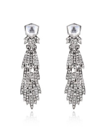 Exaggerated Silver Color Diamond Decorated Long Tassel Design Pure Color Earrings