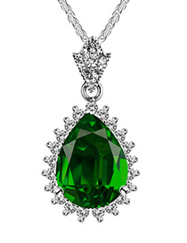 Elegant Dark Green Waterdrop Shape Pendant Decorated Color Matching Necklace