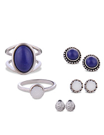 Fashion Silver Color Oval Shape Gemstone Decorated Color Matching Jewelry Sets