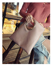 Elegant Pink Circular Ring Decorated Pure Color Handbag