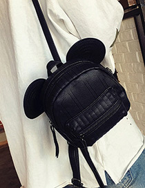 Trendy Black Pure Color Decorated Cartoon Ears Shape Backpack