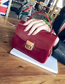 Fashion Red Buckle Decorated Pure Color Simple Shoulder Bag