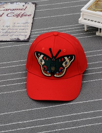 Trendy Red Embroidery Butterfly Decorated Pure Color Baseball Cap