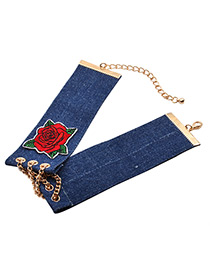 Fashion Blue Embroidery Flower Decorated Color Matching Simple Choker