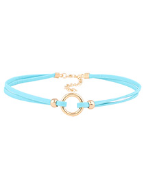Fashion Blue Circular Ring Decorated Double Layer Choker